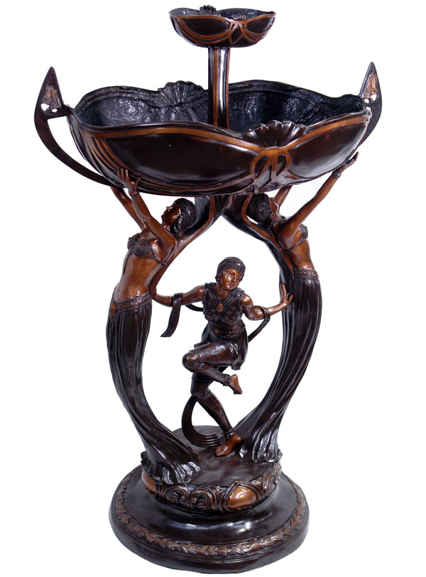 fontaine en bronze 136cm style art nouveau bassin statue deco parc jardin cour ebay. Black Bedroom Furniture Sets. Home Design Ideas