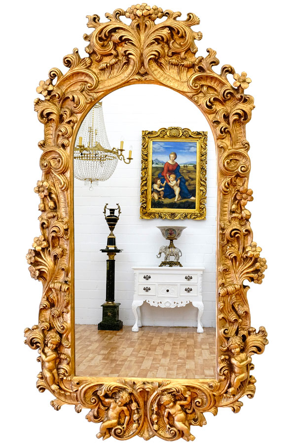 grand miroir baroque 120x60cm glace rocaille rococo feuilles acanthe dore ebay. Black Bedroom Furniture Sets. Home Design Ideas
