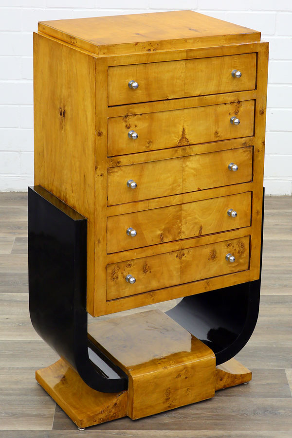 commode chiffonnier style art deco en loupe d 39 orme ebay. Black Bedroom Furniture Sets. Home Design Ideas