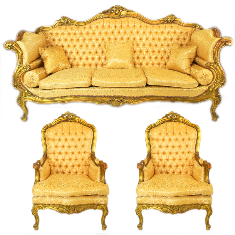 salon royal rococo canape 2 fauteuils en bois hetre dore baroque rocailles ebay. Black Bedroom Furniture Sets. Home Design Ideas