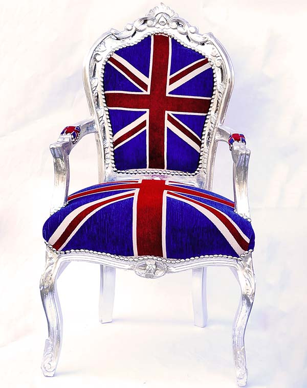 very british baroque chair union jack armchair antique style seat furniture chair silver ebay. Black Bedroom Furniture Sets. Home Design Ideas