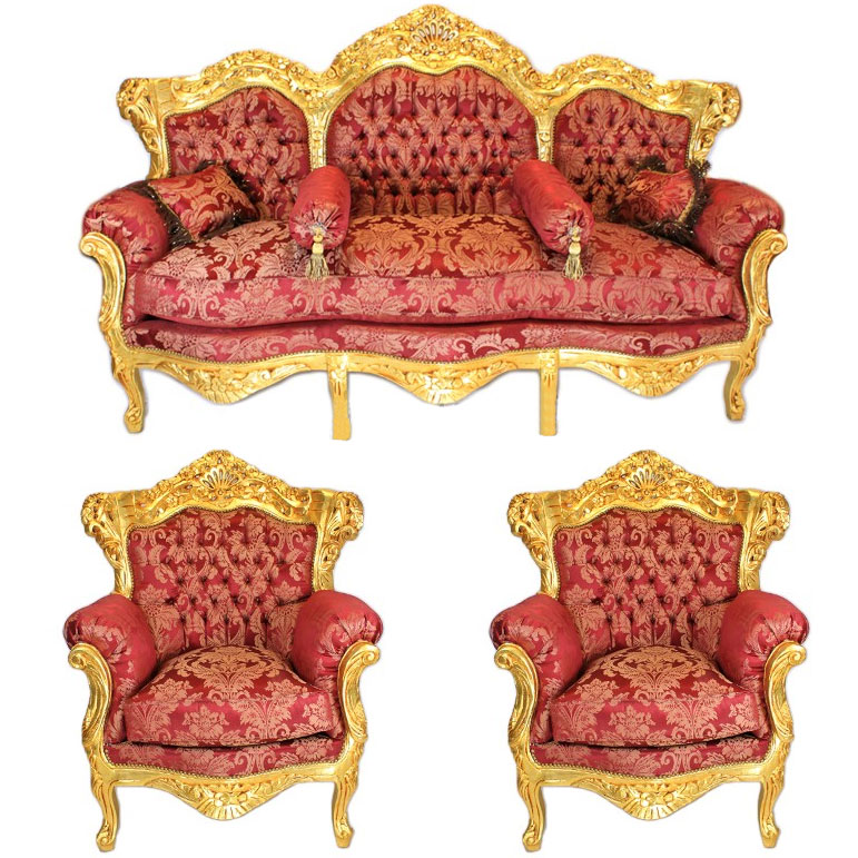 canape 2 fauteuils salon royal baroque rococo en bois dore rouge rocailles ebay. Black Bedroom Furniture Sets. Home Design Ideas
