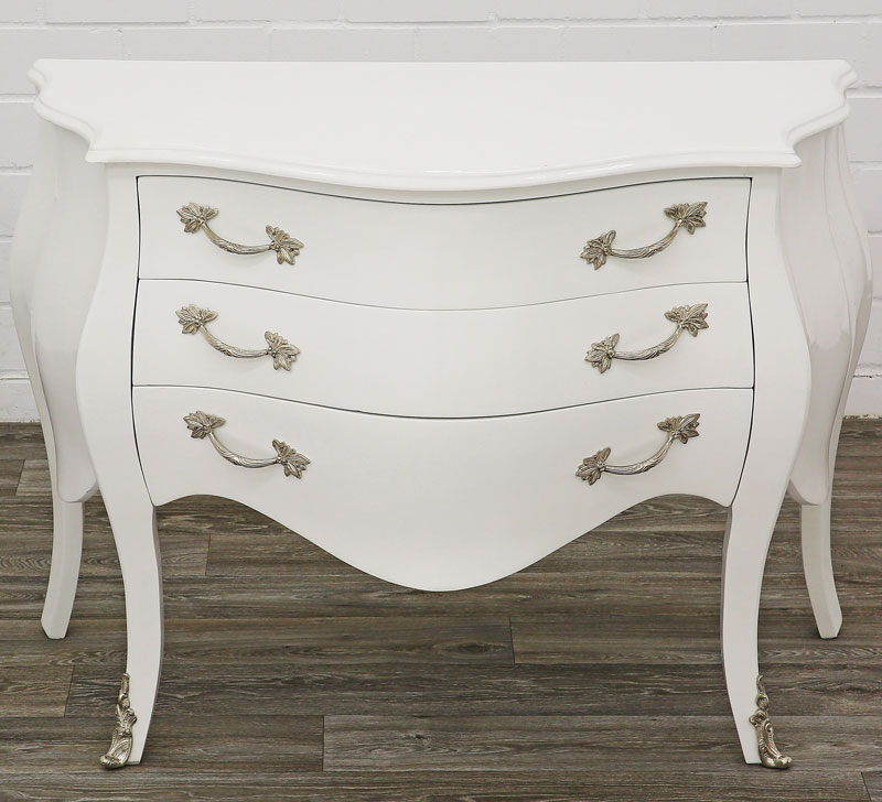 commode galbee baroque style louis xv 120cm en bois hetre blanc rococo ebay. Black Bedroom Furniture Sets. Home Design Ideas