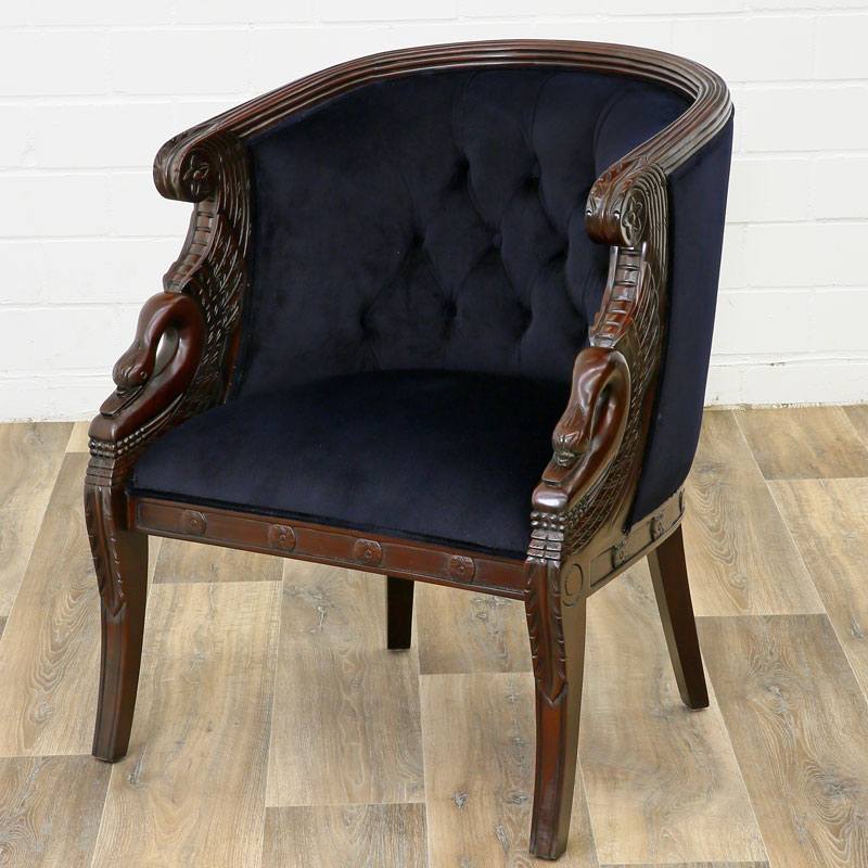 bergere fauteuil style empire napoleon a col de cygne en acajou velours noir ebay. Black Bedroom Furniture Sets. Home Design Ideas