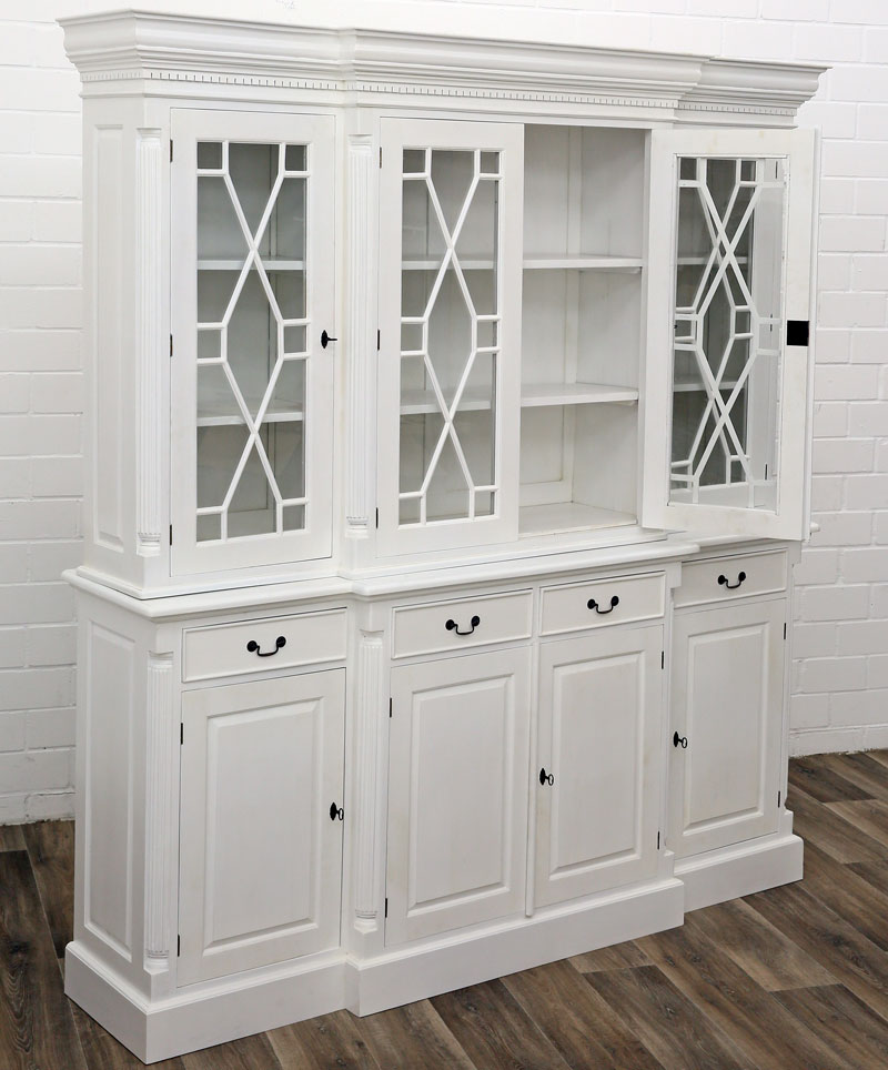 bibliotheque vitree vitrine en bois acajou blanc style anglais victorien shabby ebay. Black Bedroom Furniture Sets. Home Design Ideas