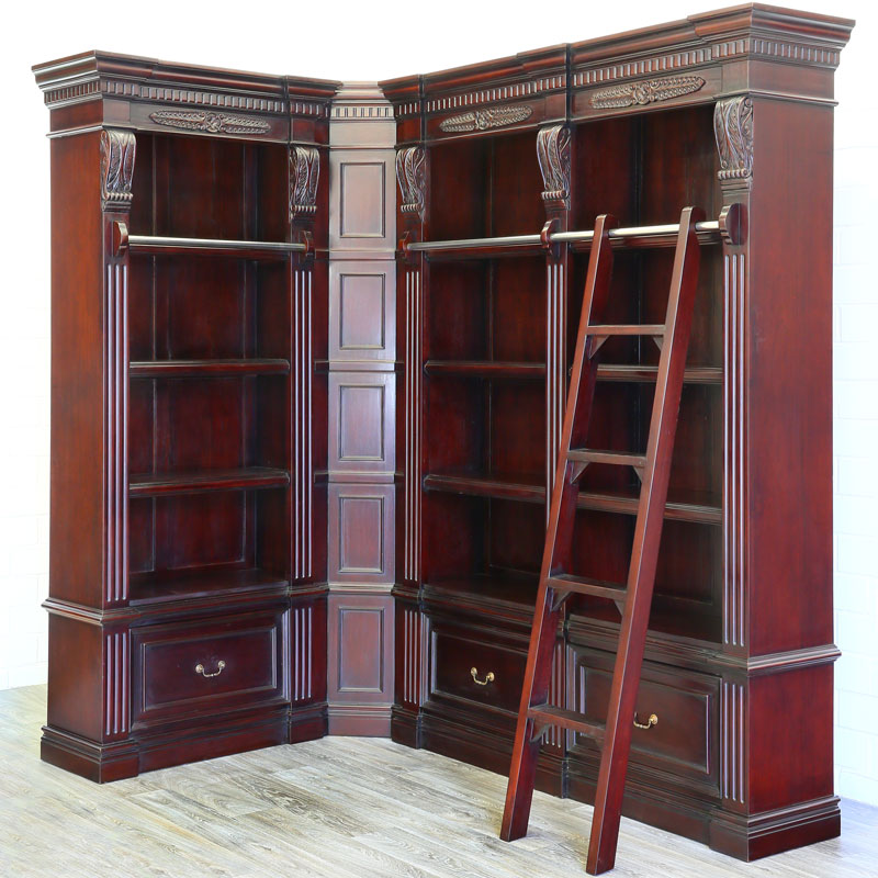 bibliotheque d 39 angle avec echelle courante en acajou massif style empire ebay. Black Bedroom Furniture Sets. Home Design Ideas