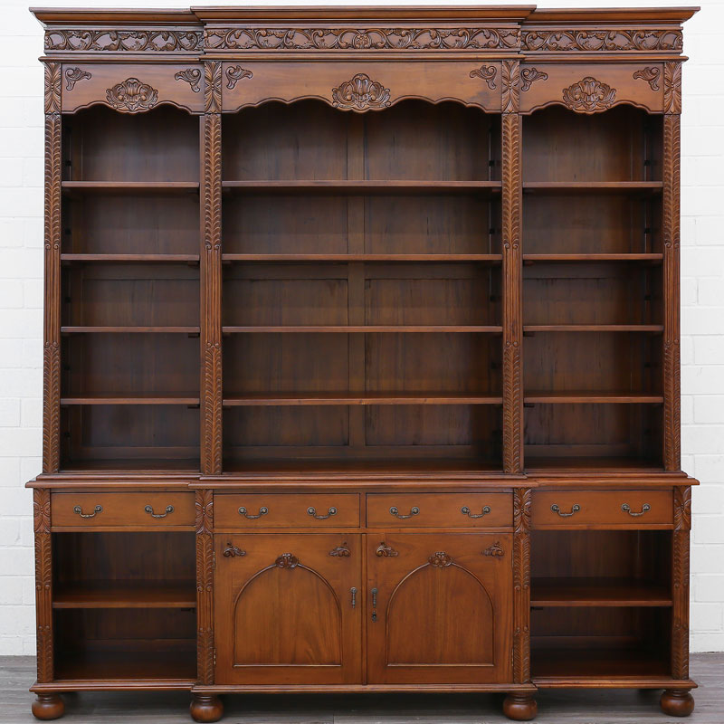 buffet bibliotheque en bois acajou massif brun style belle epoque ebay. Black Bedroom Furniture Sets. Home Design Ideas