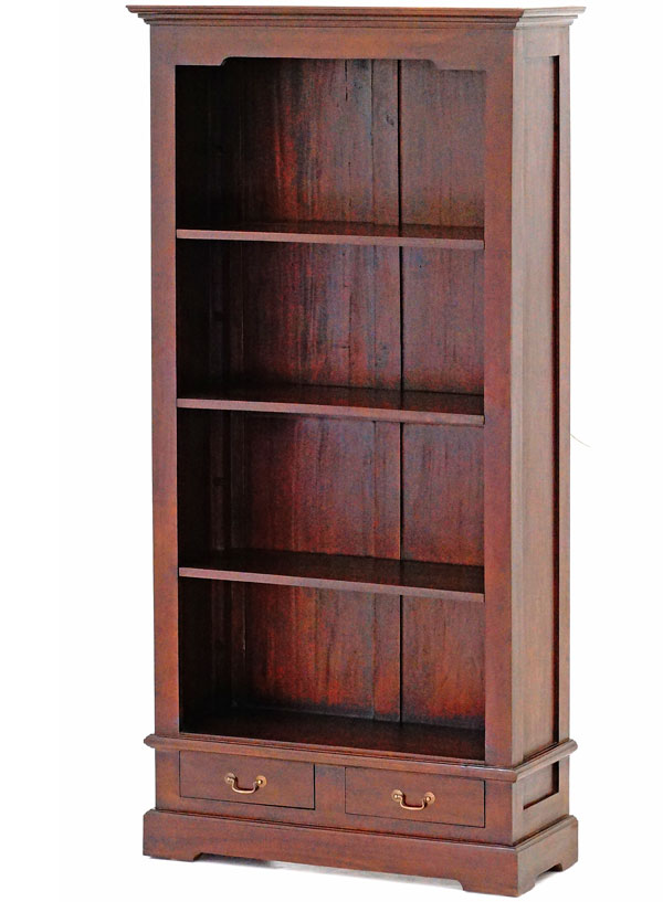 bibliotheque style colonial en bois acajou massif meuble etageres anglais ebay. Black Bedroom Furniture Sets. Home Design Ideas