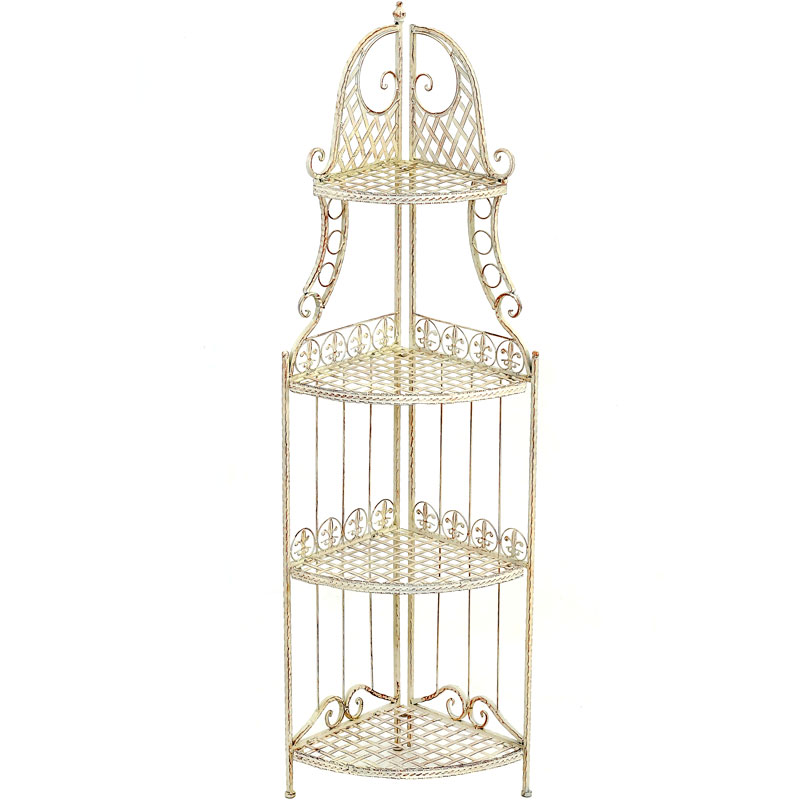 etagere a fleurs en fer forge blanc antique patine meuble jardin exterieur ebay. Black Bedroom Furniture Sets. Home Design Ideas