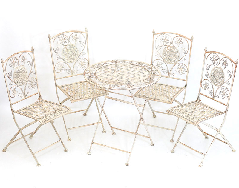 4 chaises table repas en fer forge style anglais for Salle a manger fer forge blanc
