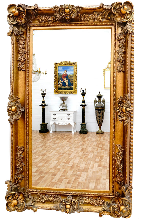 barock rahmen antik gold ca 156cm superlative goldener spiegel gross. Black Bedroom Furniture Sets. Home Design Ideas