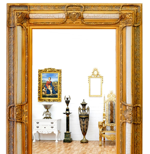 luxus wandspiegel antik wei salon spiegel gro rahmen barock gold neu ebay. Black Bedroom Furniture Sets. Home Design Ideas