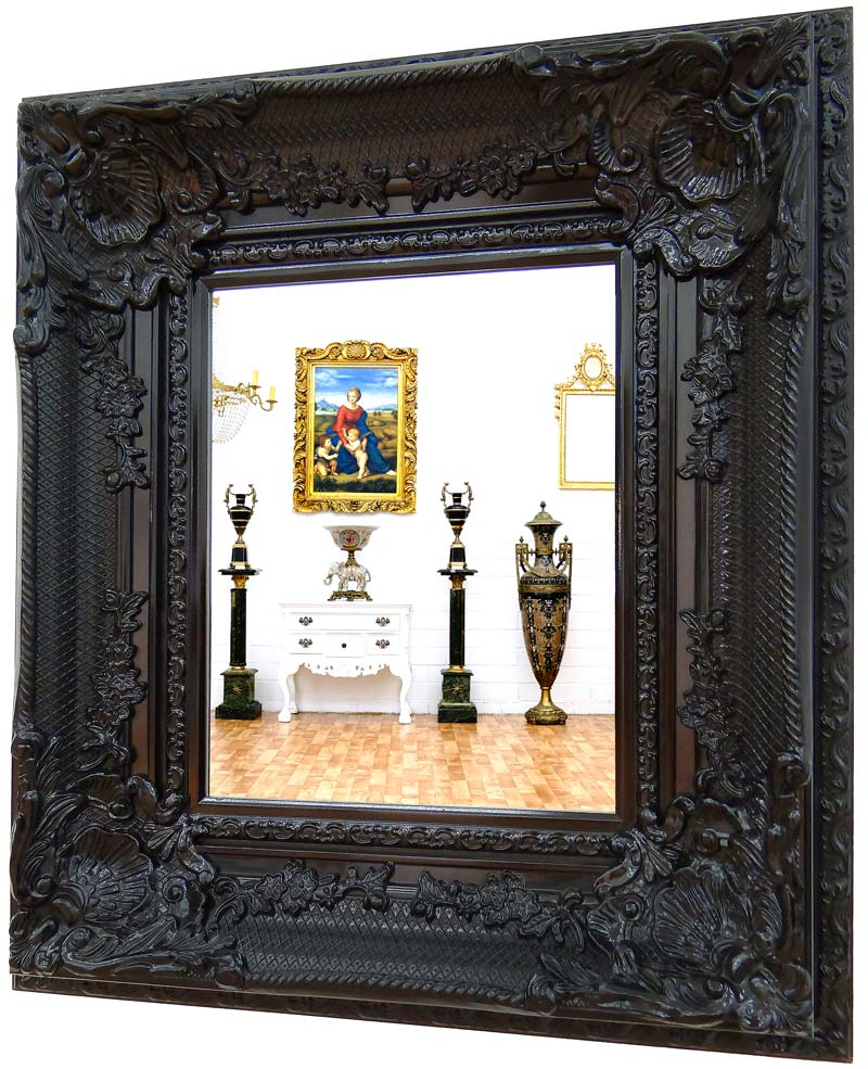 miroir baroque noir 88x78cm cadre en bois rococo style louis xv rocailles glace. Black Bedroom Furniture Sets. Home Design Ideas
