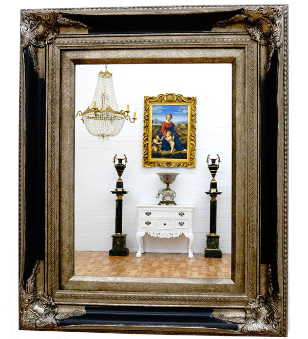 grand miroir rococo 60x50cm mural de cheminee cadre en. Black Bedroom Furniture Sets. Home Design Ideas