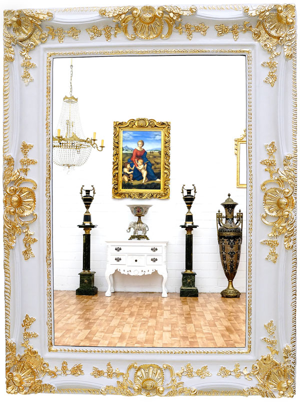grand miroir baroque 120x90cm cadre en bois dore blanc antique rocaille rococo ebay. Black Bedroom Furniture Sets. Home Design Ideas