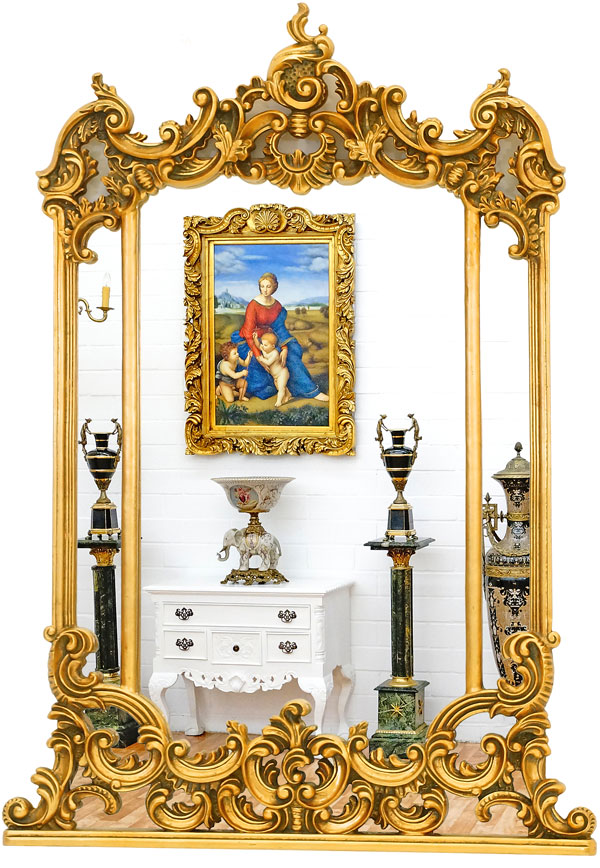 miroir louis xv xvi 124x88cm cadre dore style baroque. Black Bedroom Furniture Sets. Home Design Ideas