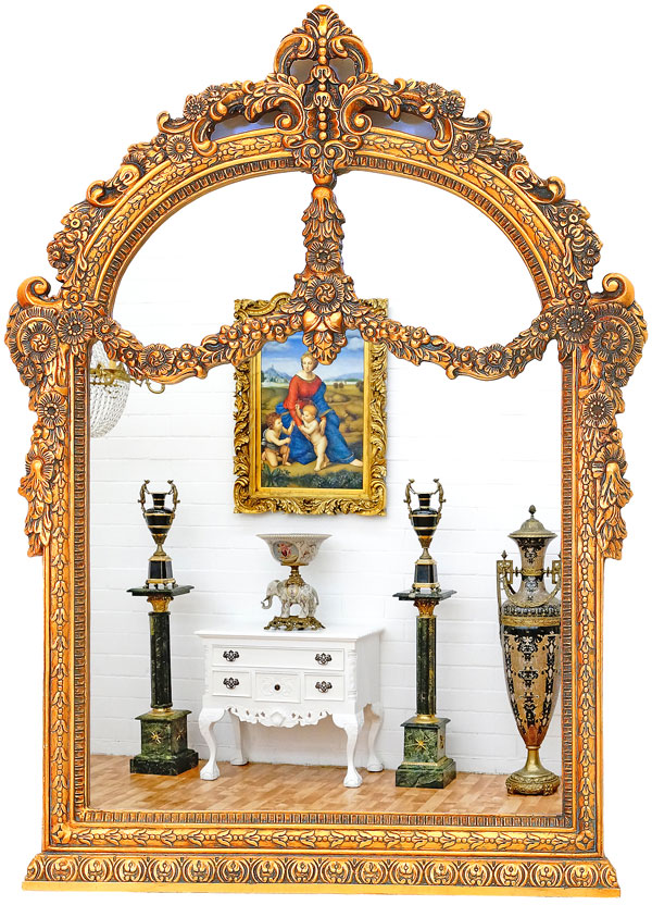 grand miroir baroque 106x80cm style baroque cadre en bois dore louis xv empire ebay. Black Bedroom Furniture Sets. Home Design Ideas