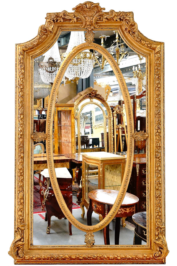 grand miroir baroque dore 200x100cm style louis xv xvi empire rococo rocailles ebay. Black Bedroom Furniture Sets. Home Design Ideas