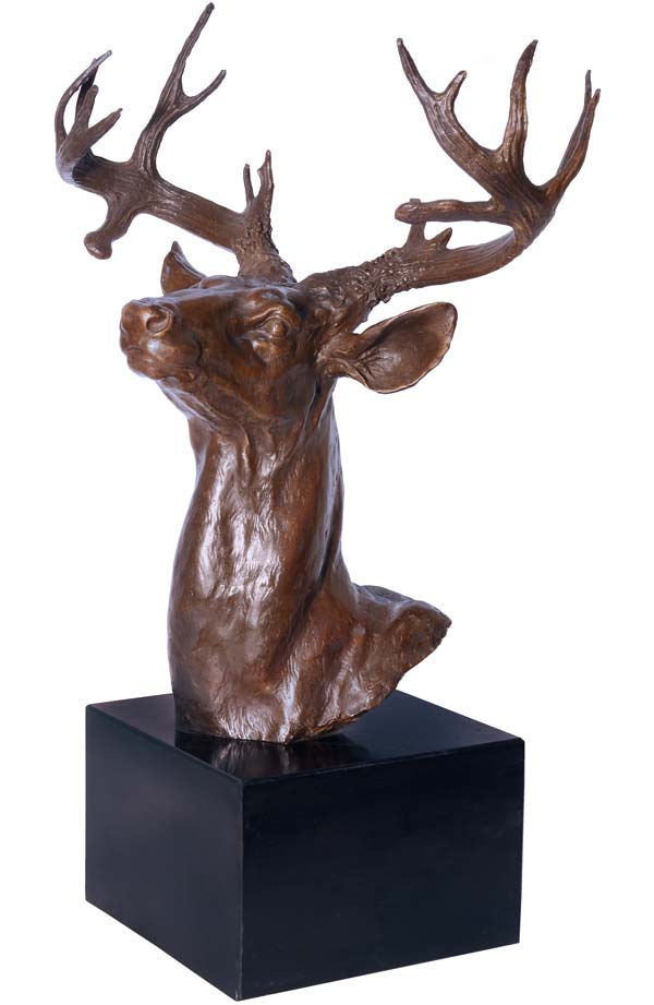 statue en bronze 50cm buste de cerf sculpture statuette figurine trophee chasse ebay. Black Bedroom Furniture Sets. Home Design Ideas