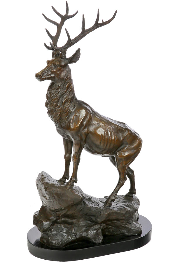 statue en bronze 68cm cerf sculpture statuette figurine trophee de chasse ebay. Black Bedroom Furniture Sets. Home Design Ideas