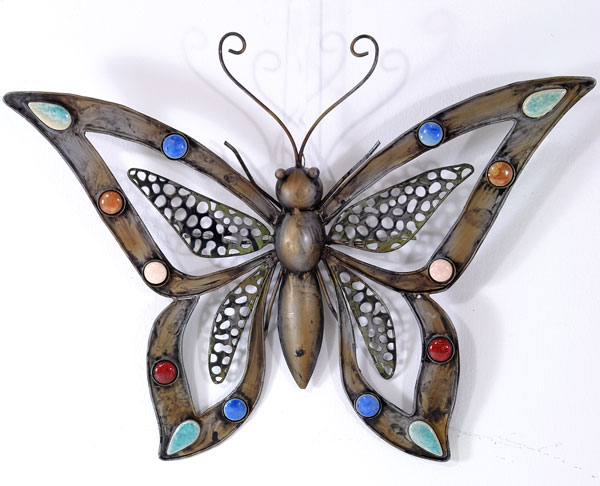 eisen schmetterling wand deko figur metall papillon lass den schmetterling rein ebay. Black Bedroom Furniture Sets. Home Design Ideas