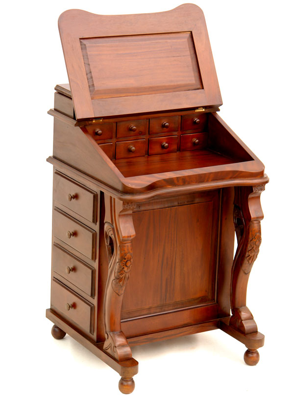 secretaire davenport bureau en acajou massif style anglais victorien georgien ebay. Black Bedroom Furniture Sets. Home Design Ideas