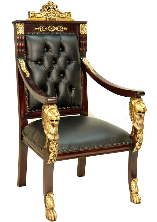 fauteuil en acajou tetes de lion trone style empire retour egypte napoleon ebay. Black Bedroom Furniture Sets. Home Design Ideas