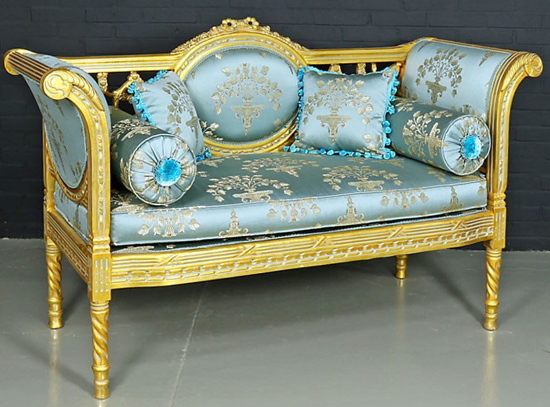banquette style louis xvi canape meridienne baroque en bois hetre dore bleu ebay. Black Bedroom Furniture Sets. Home Design Ideas