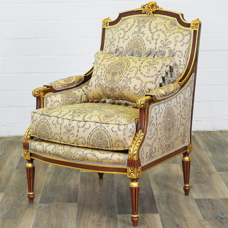 fauteuil bergere style louis xvi siege royal en hetre dore. Black Bedroom Furniture Sets. Home Design Ideas