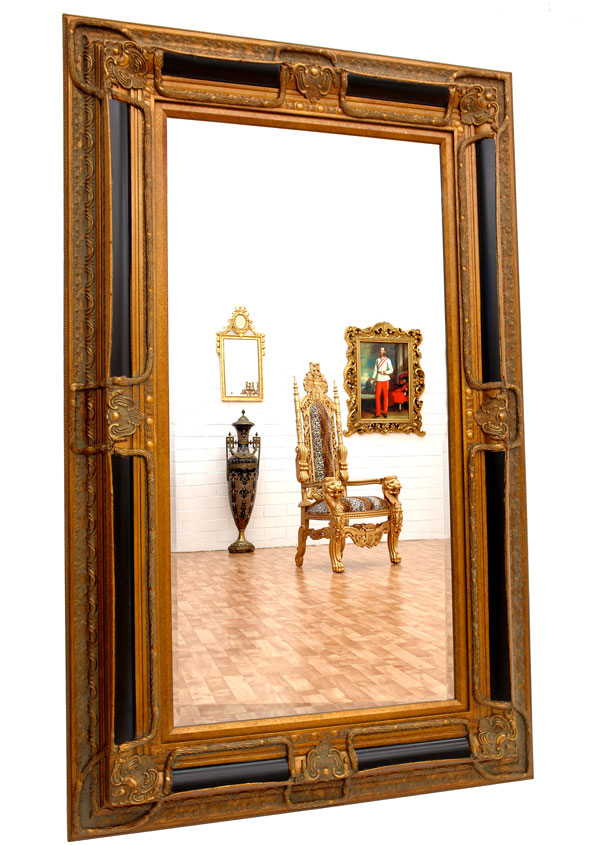 wandspiegel gro luxus flur dielenspiegel pracht spiegel schwarz gold ebay. Black Bedroom Furniture Sets. Home Design Ideas